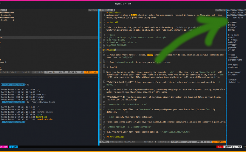 tmux-hints.sh v0.3 Update! The Terminal Cheat-sheet app for Devs